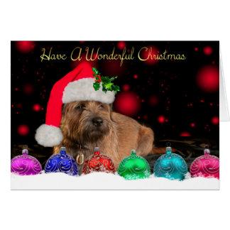 Frontera Terrier en tarjeta de Navidad del gorra