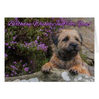 Frontera Terrier en una roca con el brezo púrpura Tarjeta