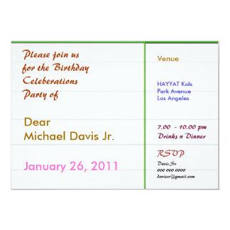 Frontera verde de Pearl White con el texto de la Invitación 12,7 X 17,8 Cm