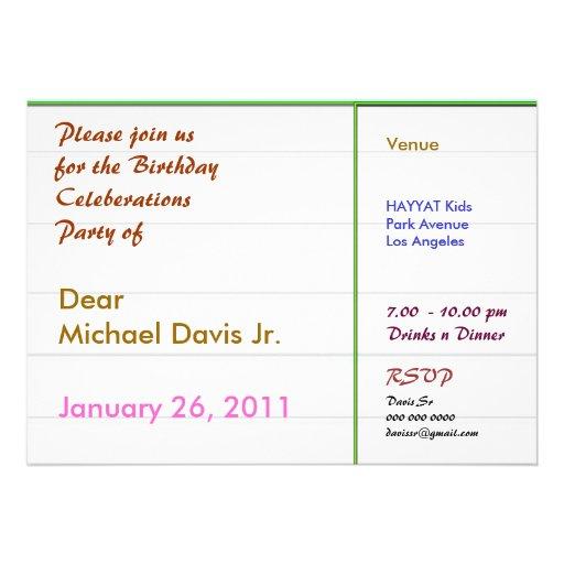 Frontera verde de Pearl White con el texto de la m Invitación