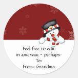 Frostie en rojo con los copos de nieve blancos pegatina redonda