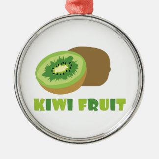 Fruta de kiwi adorno redondo plateado