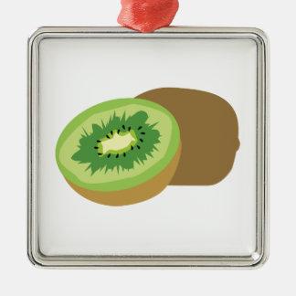 ¡Fruta de kiwi! Adorno Cuadrado Plateado