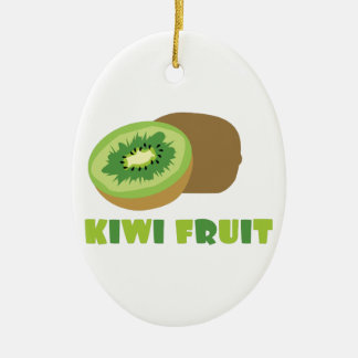 Fruta de kiwi adorno ovalado de cerámica