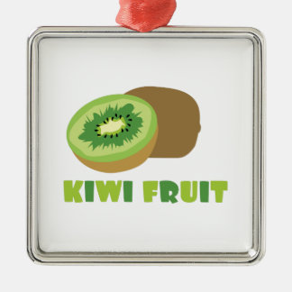Fruta de kiwi adorno cuadrado plateado