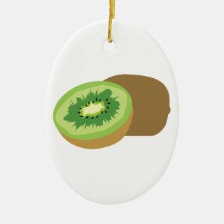 ¡Fruta de kiwi! Adorno Ovalado De Cerámica