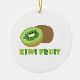 Fruta de kiwi adorno redondo de cerámica
