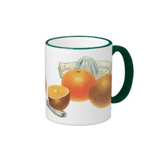 Fruta de la comida del vintage, desayuno maduro taza de dos colores