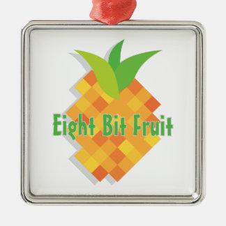 Fruta de ocho bites adorno cuadrado plateado