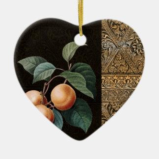 Fruta de oro adorno de cerámica en forma de corazón