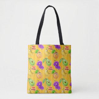 fruta linda de la bolsa de asas del dibujo animado