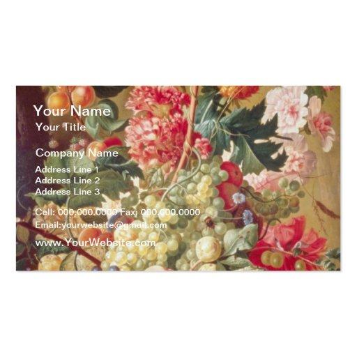 Fruta y flores rosadas, flores flamencas tarjeta personal
