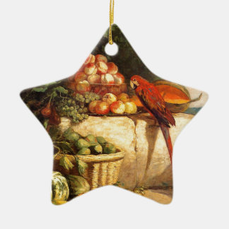 Fruta y verduras con un loro de Eugene Boudi Adorno De Cerámica En Forma De Estrella