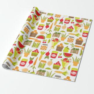 Fruta y verduras del mercado de los granjeros papel de regalo