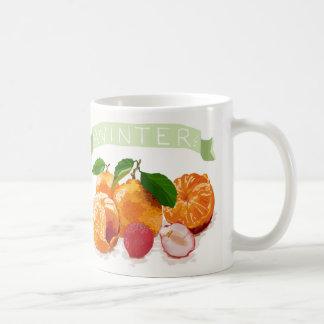Frutas coloridas del invierno taza de café