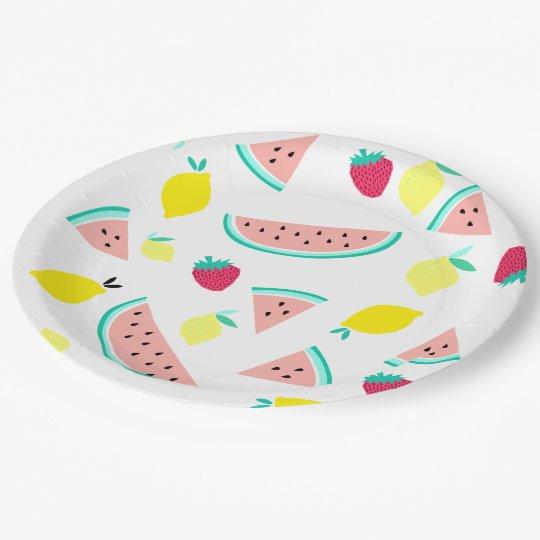 frutas coloridas felices del verano plato de papel