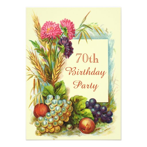 Frutas coloridas y flores del 70.o cumpleaños del  comunicado personal
