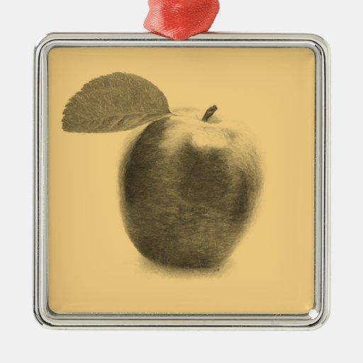 Frutas de Apple del vintage que pintan los ornamen Ornaments Para Arbol De Navidad
