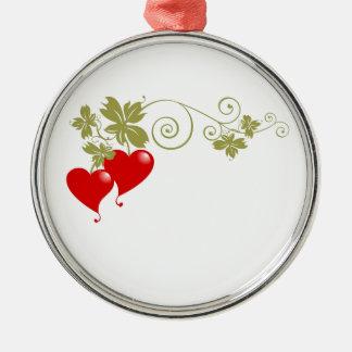 Frutas del amor adorno redondo plateado
