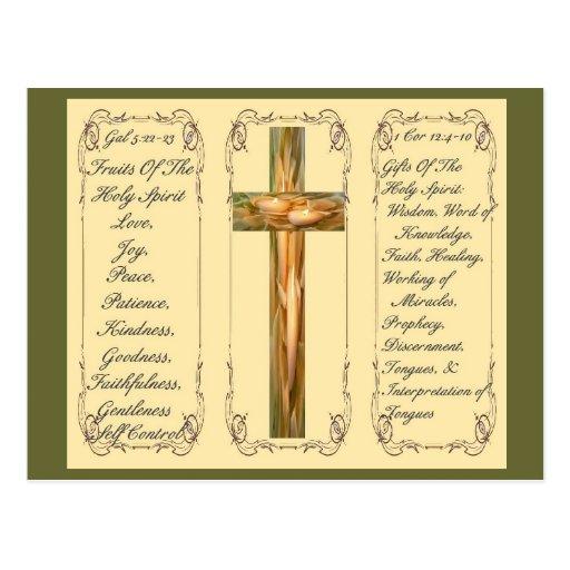Frutas y regalos de la postal del Espíritu Santo