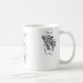 frutas y uvas taza de café