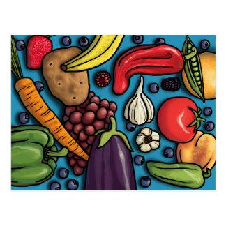Frutas y verduras coloridas en la postal azul