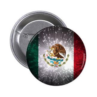 Fuego artificial de la bandera mexicana chapa redonda de 5 cm