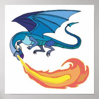 fuego de respiración del dragón azul póster