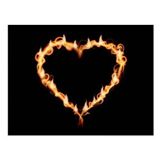 Fuego del corazón del negro del CALOR de las LLAMA Tarjeta Postal