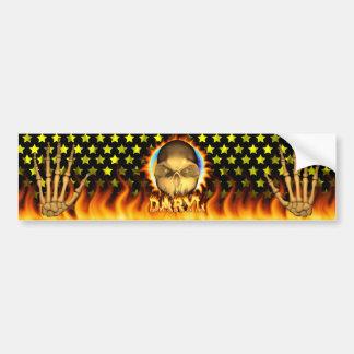 Fuego real del cráneo de Daryl y pegatina para el  Pegatina Para Coche