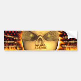 Fuego real del cráneo de Daryl y pegatina para el  Pegatina De Parachoque