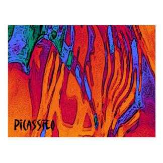 Fuego y agua coloridos de la postal del arte