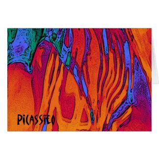 Fuego y agua coloridos de la tarjeta de nota del