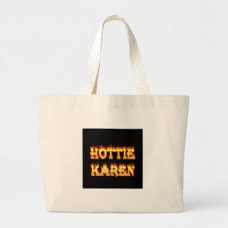 Fuego y llamas de Hottie Karen Bolsa Lienzo