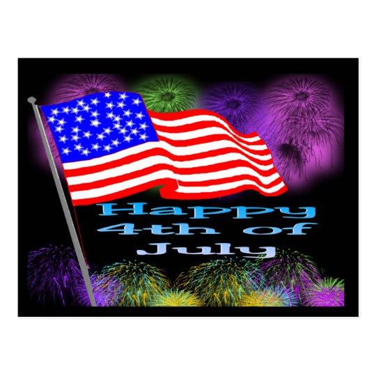 Fuegos artificiales de la bandera el 4 de julio postal