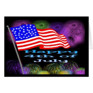 Fuegos artificiales de la bandera el 4 de julio tarjeta de felicitación