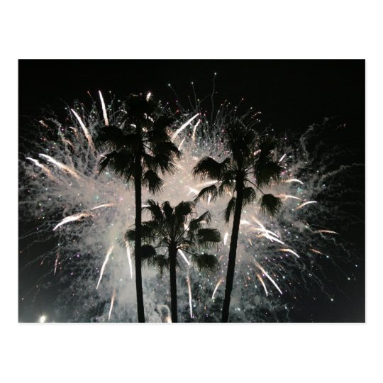 Fuegos artificiales detrás de las palmeras postal