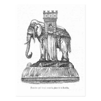 Fuente de en el lugar la Bastill, París del elefan Tarjeta Postal