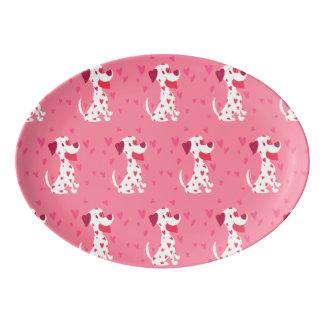 Fuente De Porcelana Dalmatian rosado lindo de la tarjeta del día de