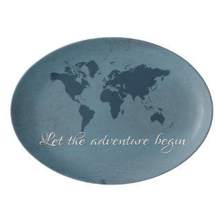 Fuente De Porcelana Deje la aventura comenzar