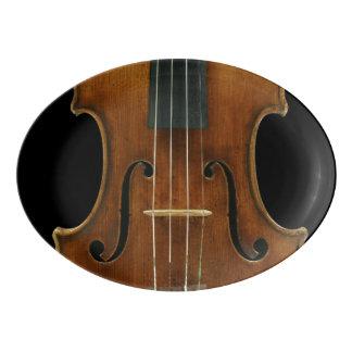 Fuente De Porcelana Detalle del violín de Stradivari en negro