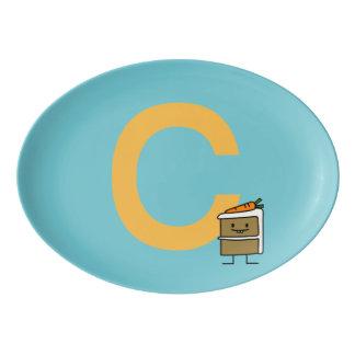 Fuente De Porcelana Dientes del conejito de la rebanada de la torta de