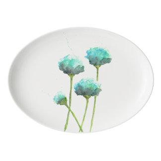 Fuente De Porcelana Disco de la porción del color de agua azul de la