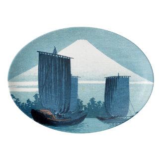 Fuente De Porcelana Disco japonés de los veleros