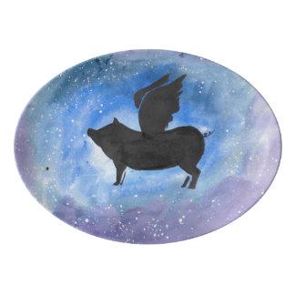 Fuente De Porcelana Disco majestuoso de la porción del cerdo del vuelo