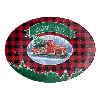 Fuente De Porcelana El camión del vintage del navidad añade nombre