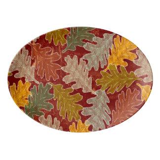 Fuente De Porcelana Hojas del roble del otoño