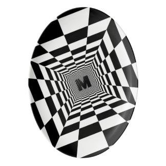 Fuente De Porcelana Ilusión, monograma o inicial visual negro y blanco