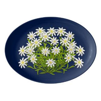 Fuente De Porcelana La montaña suiza Edelweiss florece el disco de la