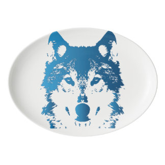 Fuente De Porcelana Lobo de los azules claros del ilustracion